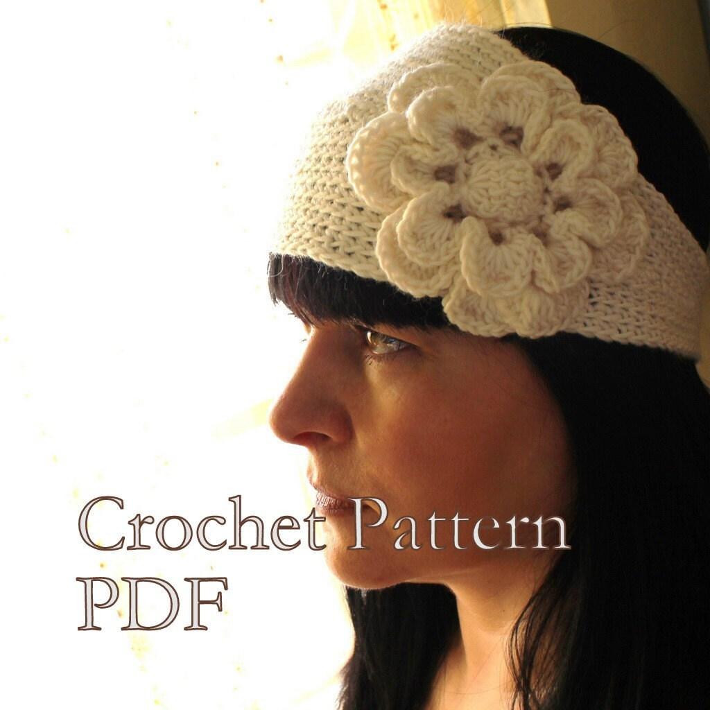 Crochet Headband Pattern With Flower : CROCHET PATTERN Headband With Flower Crochet by AbsoluteKnits