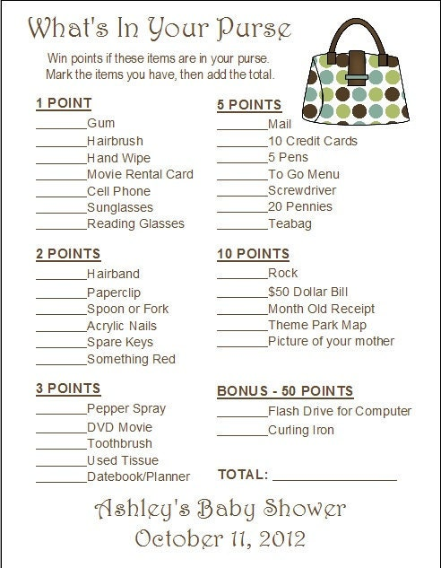 24 Personalized What's In Your Purse Bridal Shower Game by Print4U