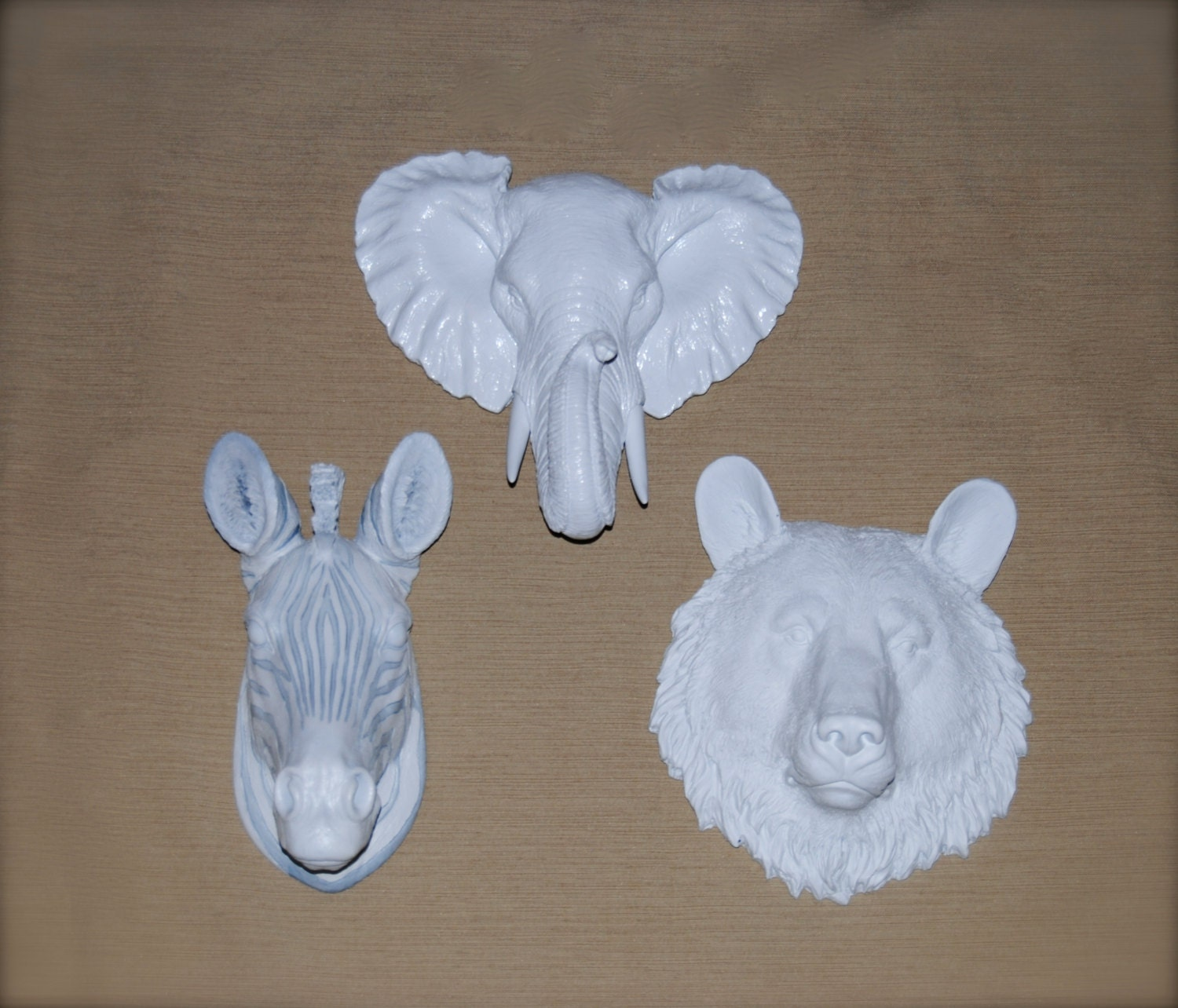 White Gallery Wall Miniature Collection - 3 Faux Taxidermy Small Resin Animal