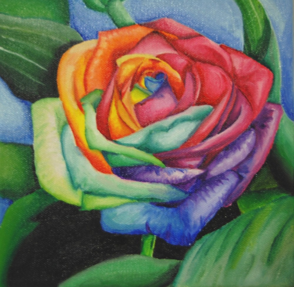 Rainbow rose painting by veronicavegan on etsy for Where to find rainbow roses