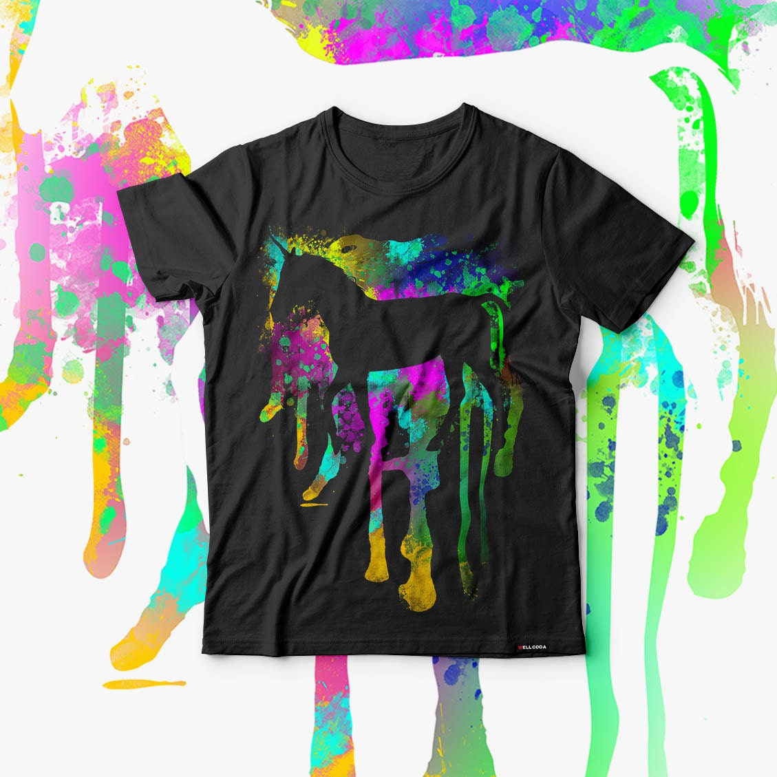 Unicorn Fantasy Art Myth Animal Men Black Tshirt S5XL NEW  Wellcoda