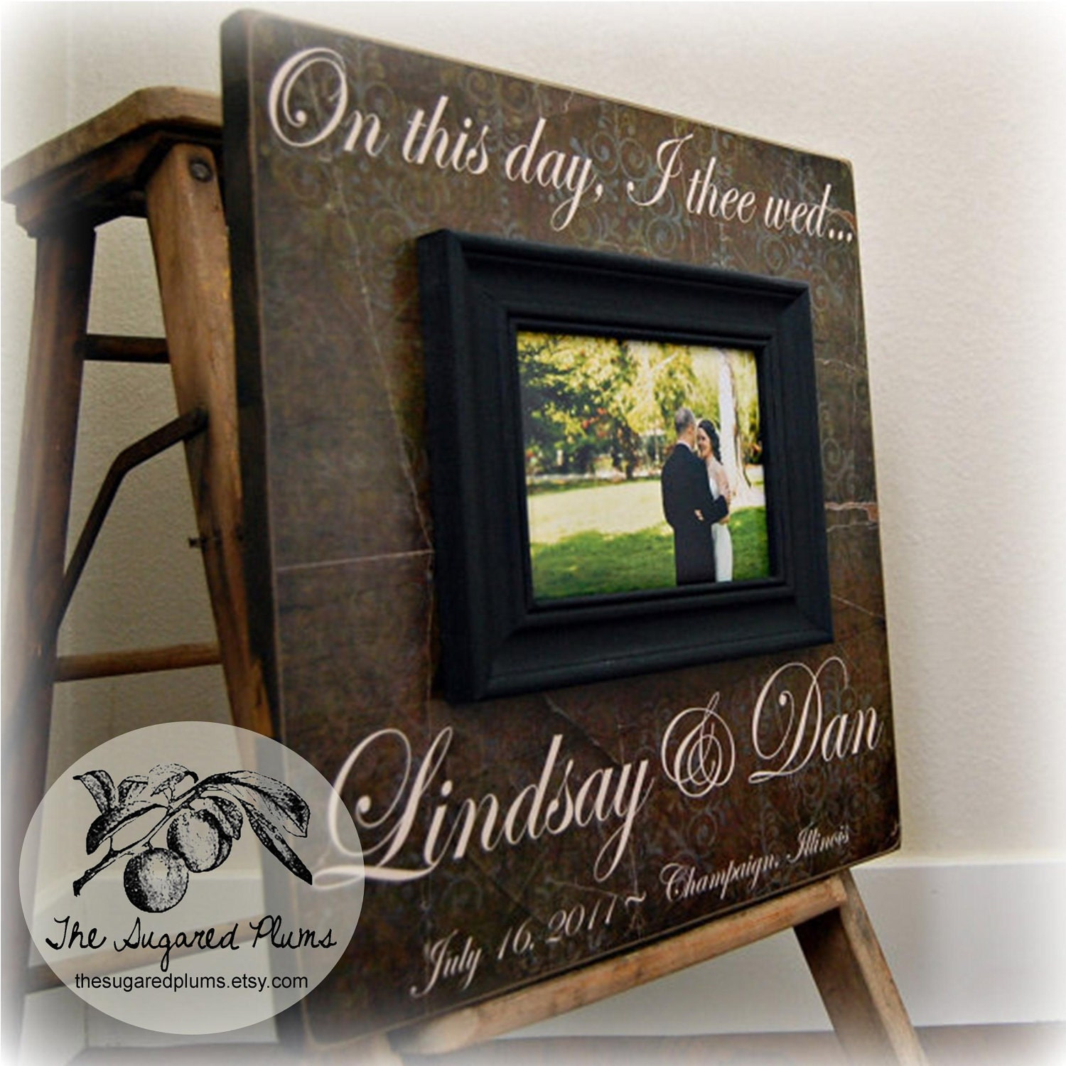 Custom Picture Frame Personalized Wedding Frame 16x16 On This Day ...