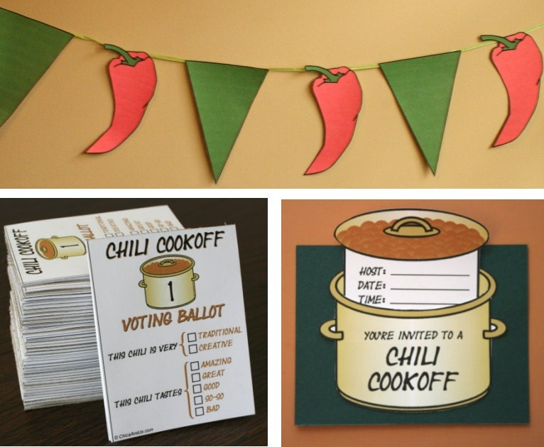 Chili Cookoff Printables (invitation, voting ballots, chili pot labels ...