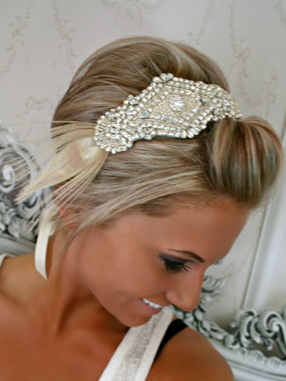 Wedding Headpiece Bridal Headband SAVVY Ribbon By BrassLotus