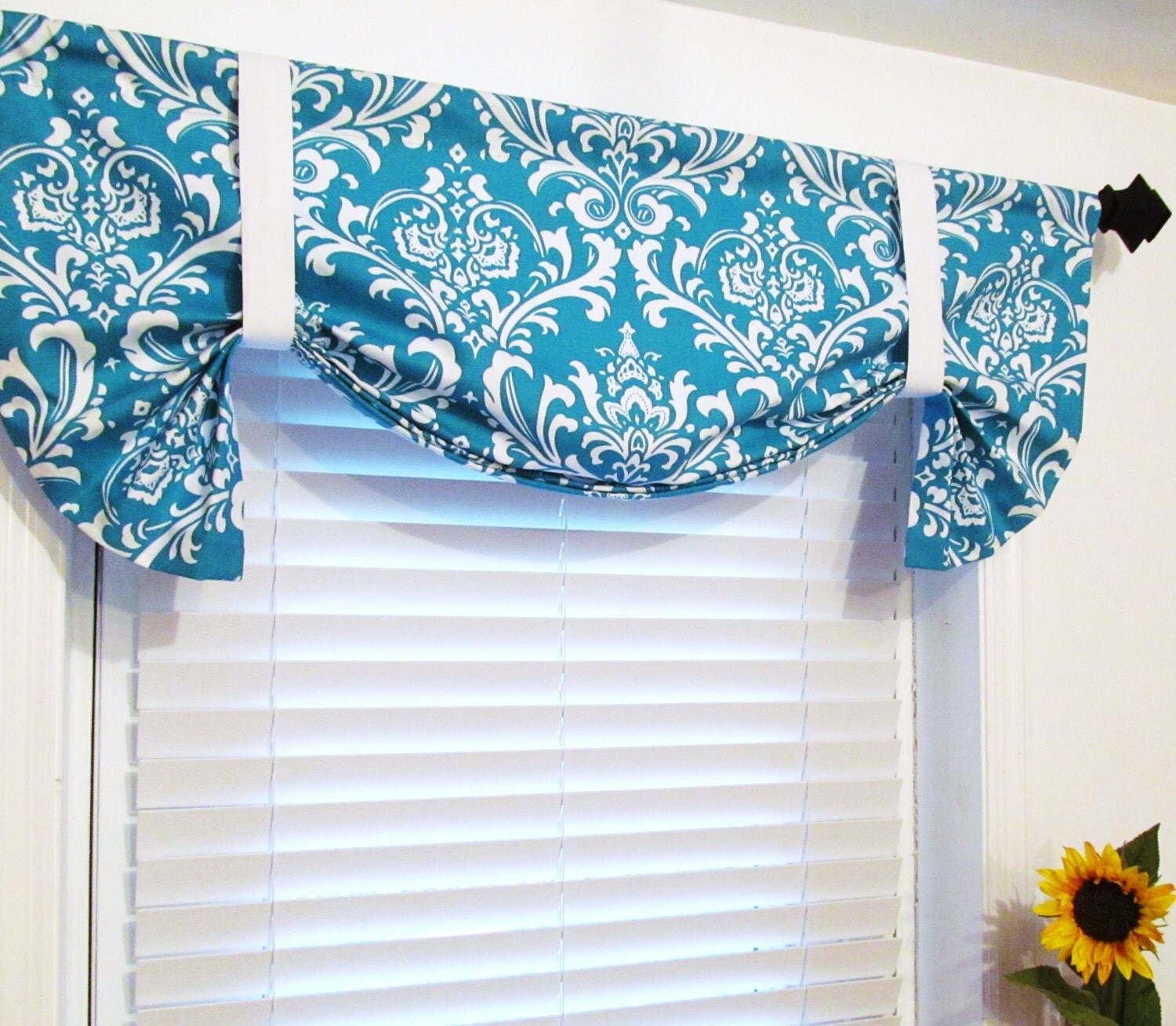 Turquoise Damask Curtain Tie Up Curtain By Supplierofdreams