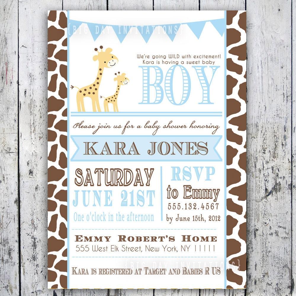 giraffe baby shower invitation baby sprinkle by bigdayinvitations