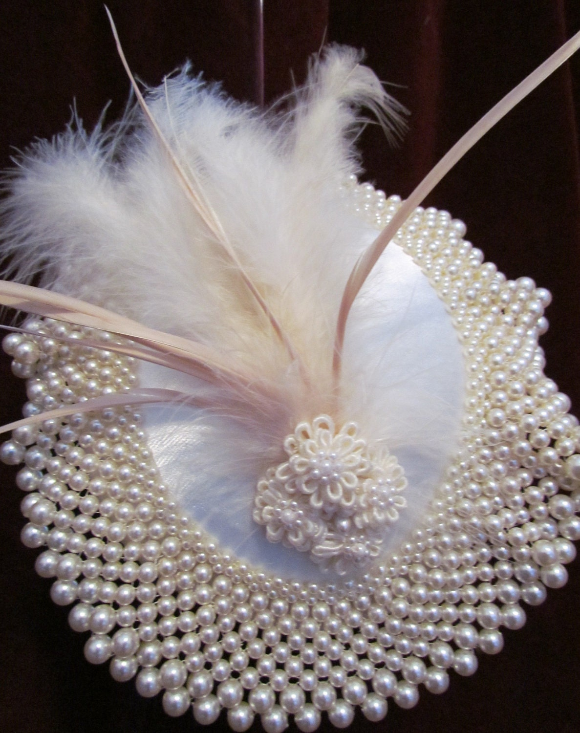 Hat of Pearls, pearl bib, pearl and satin flowers, white feathers, goose biot feathers, headband - CouturePlumes