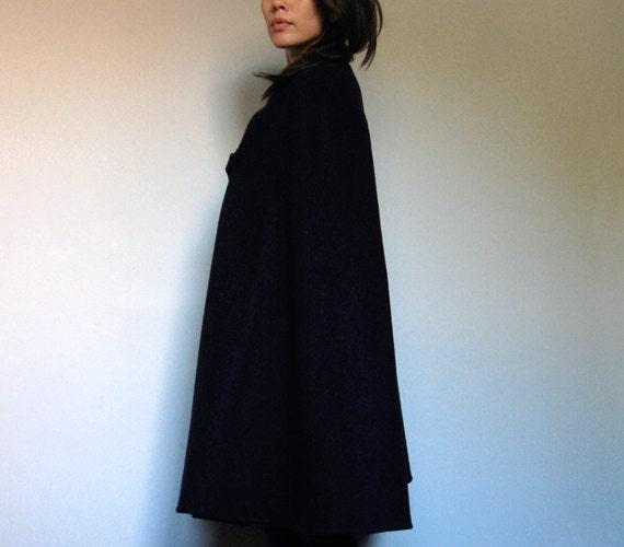Vintage Wool Cape Navy 60s Nurse Cloak S/M by MidnightFlight