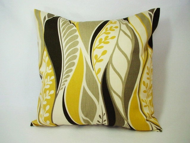 Yellow Brown Throw Pillows : Items similar to Two Decorative Throw Pillow Covers in Yellow Brown and Cream Floral Print - 20 ...