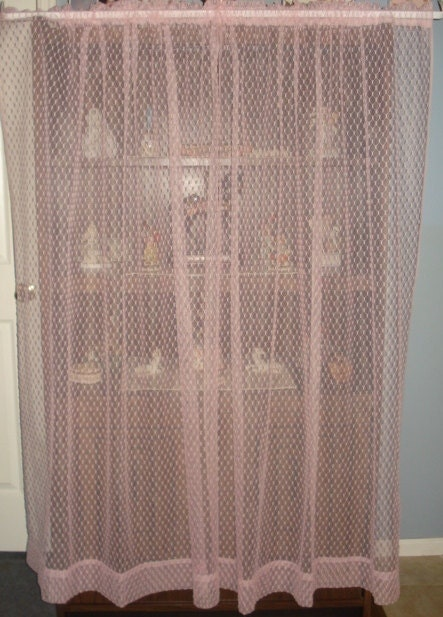 Vintage Pink Chenille Lace Net Curtains 2 Panels By Fabulous5