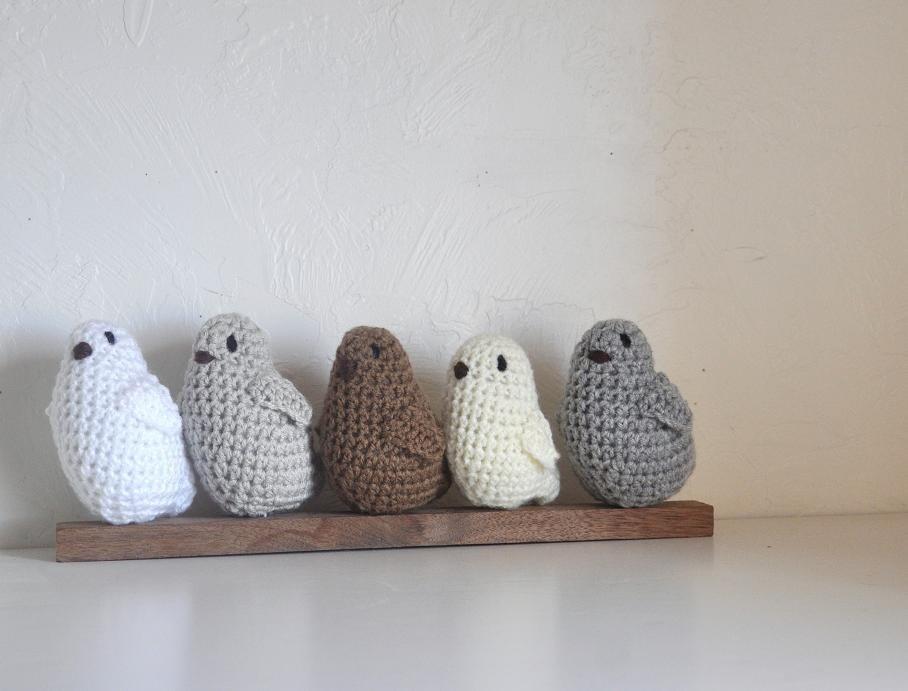 5 Baby Birds Nursery Home Decor Neutral Grey Brown Cream - AandBDesignStudio