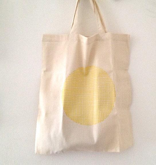 Organic Cotton Tote Bag Geometric Tote Hand Painted Shopping Bag Yellow Polka Dots - mipluseddesign