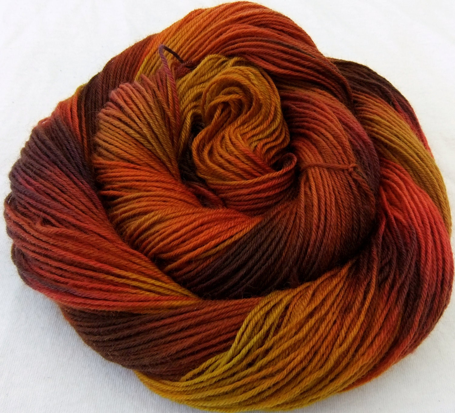 Autumn Blaze - Hand Dyed Fingering Merino/Nylon Yarn - 100g/400yards