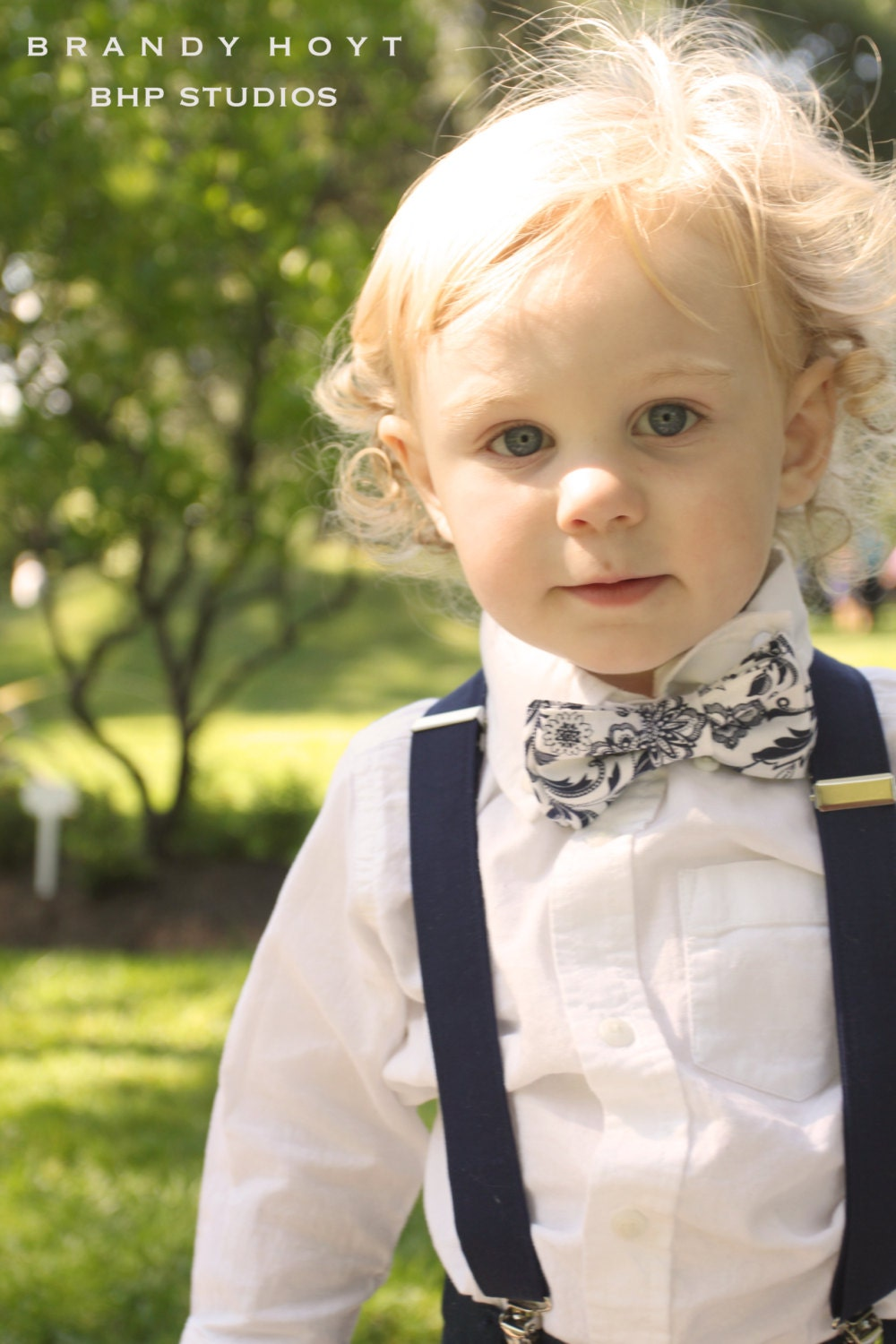 Boys Navy Bow Tie and Suspenders: Blue, White Floral, fall, Back to School - TheBoytique