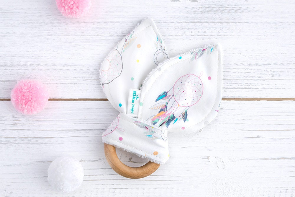 Natural Wood Teething Ring  Bunny Ears Teether Dreamcatcher  Nordic Toy  Baby Girl  Teething Baby  Pastel Baby Toy  Vegan  Organic