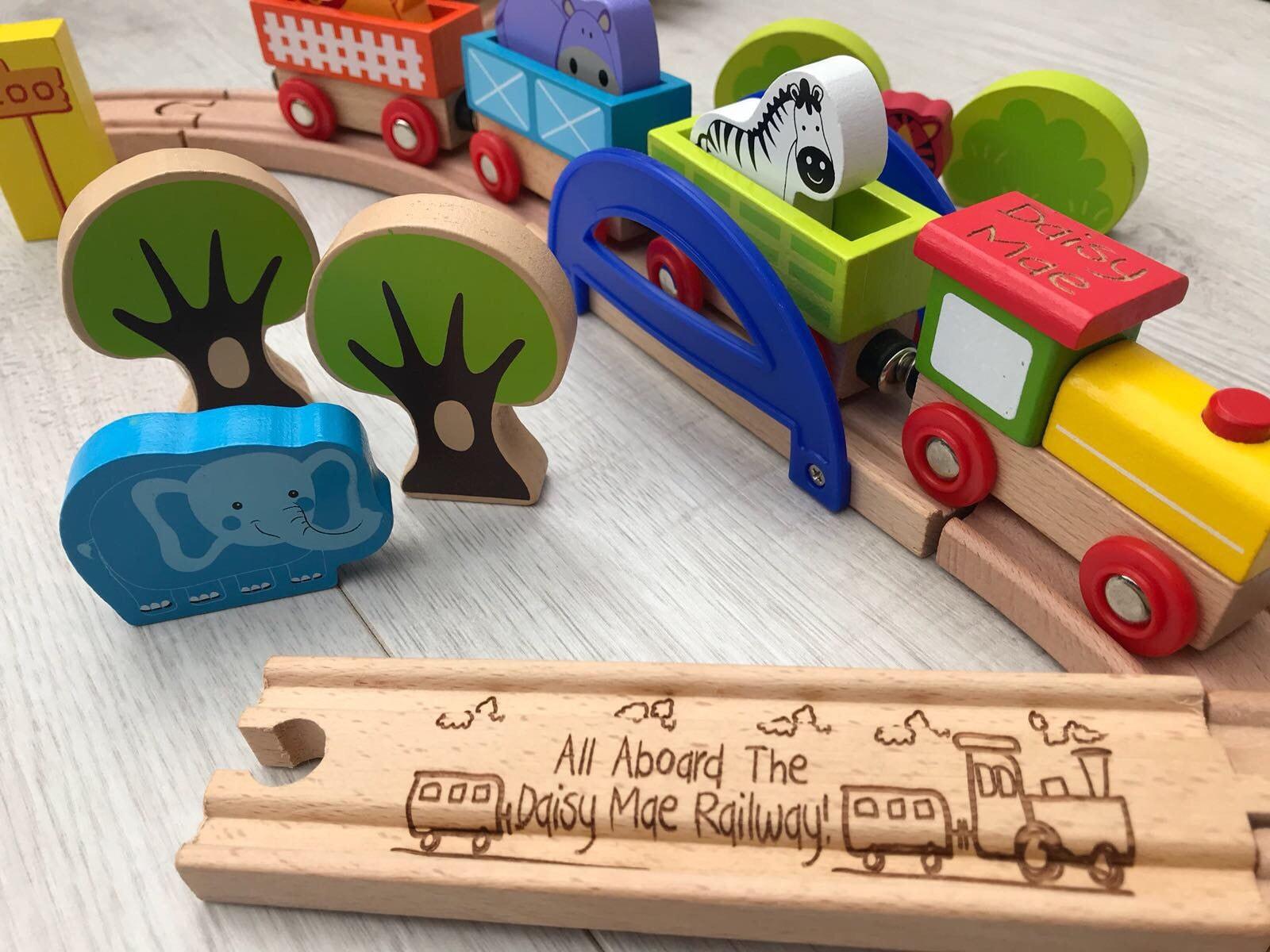 Zoo wooden train set choo choo set personalised wooden train track and train