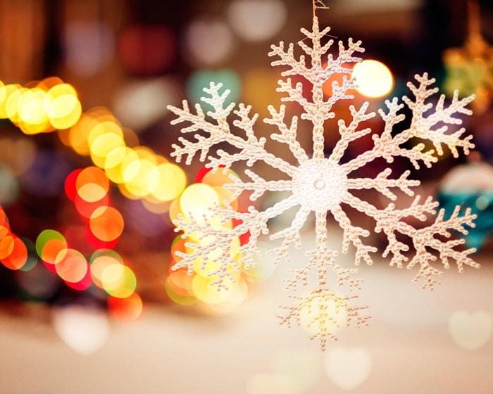 SALE - Holiday decor, Christmas lights, fairy lights, snowflake, bokeh lights, amber, red, winter photography, Christmas tree, winter night - bomobob