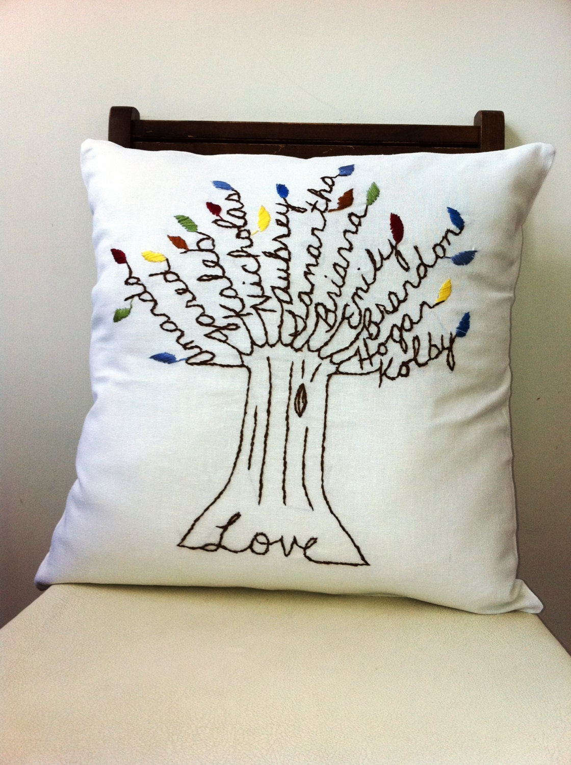 The Love Pillow Cover. Mothers Day Gift. by BlueLeafBoutique