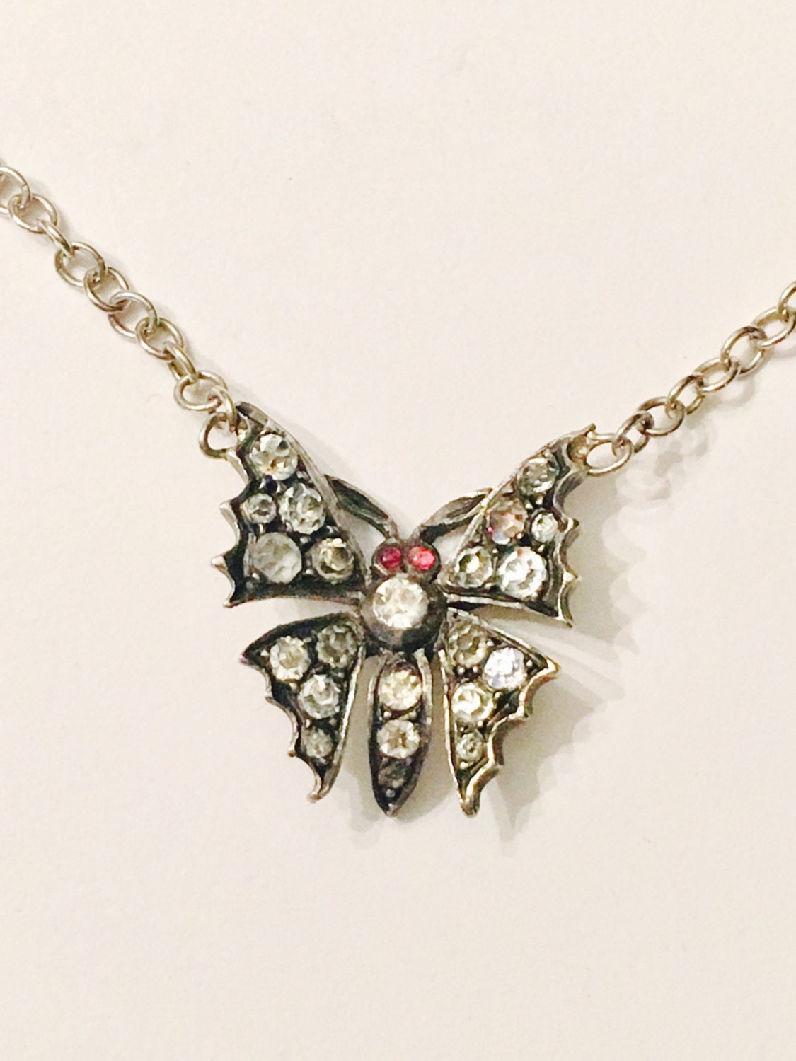 Antique Silver and Diamond Paste Sweetheart Butterfly Neckace  Madam Butterfly