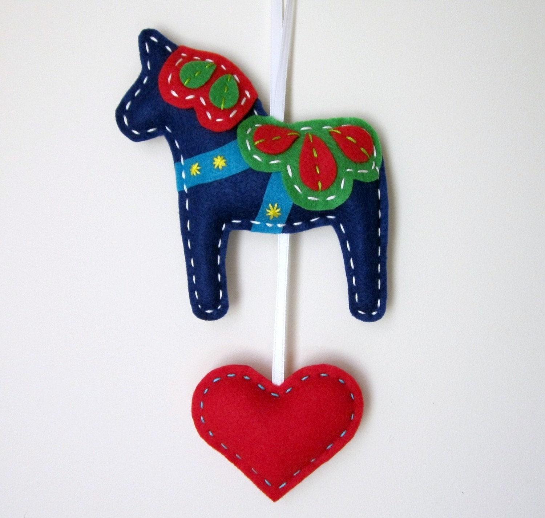 Christmas Tree Shaped Ornaments Are Handmade From 100 Recycled Eco Friendly Felt Hand: Eco Felt Dala Horse Plush Wall Hanging Cute MADE By