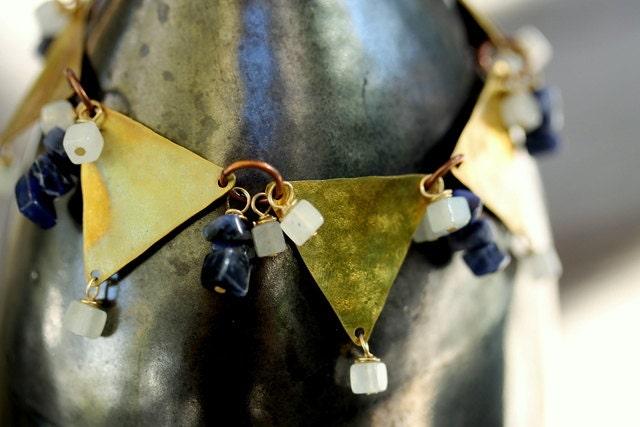 """Tribal Brass Triangle Geometric Bracelet - """"Aztec Sunset"""" - NighBluey"""