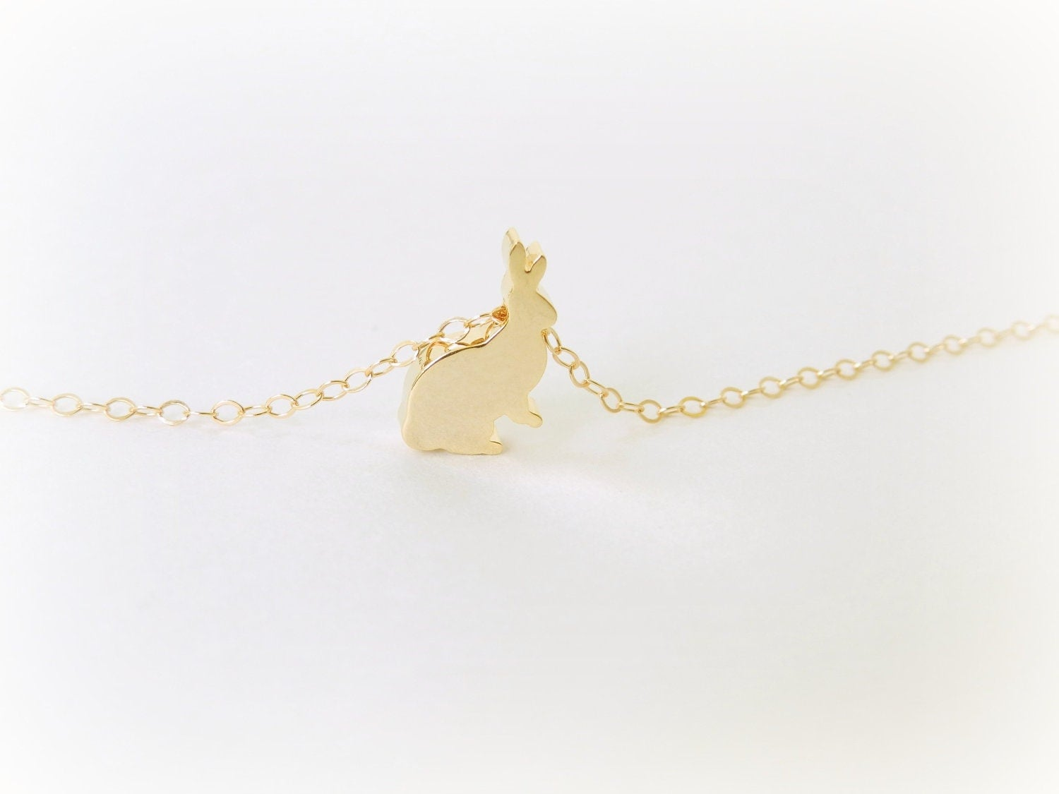 Lucky Bunny necklace with 14k gold filled chain.