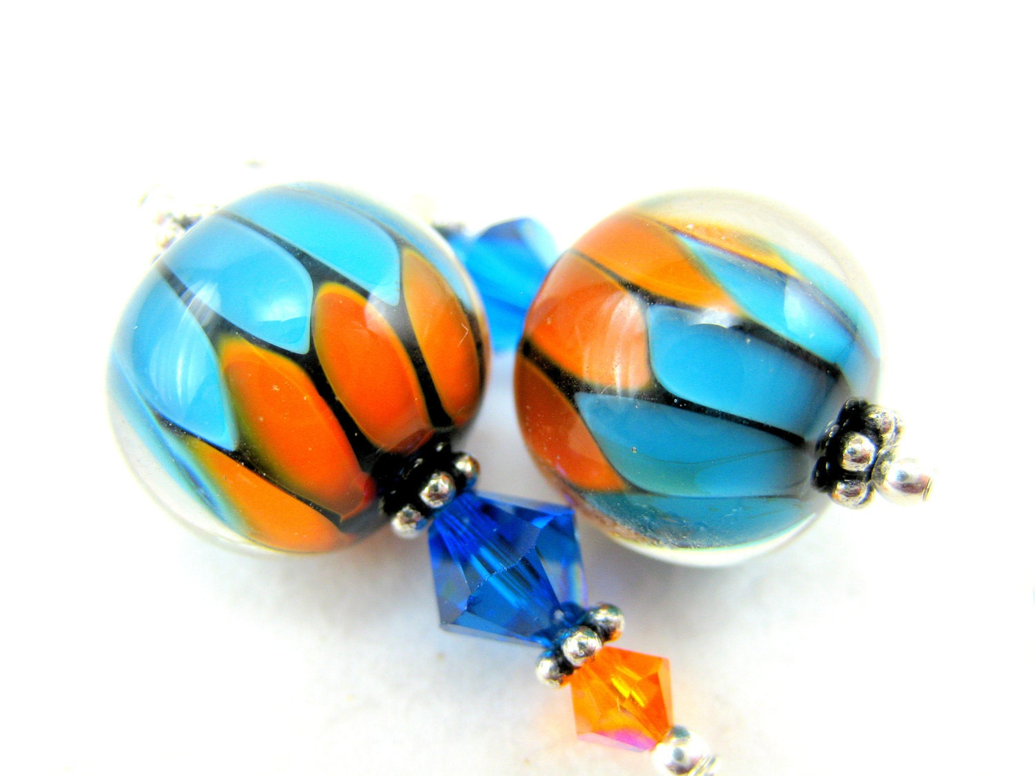 Orange and Turquoise Earrings, Glass Bead Earrings, Blue Orange Lampwork Earrings, Bright Color Earrings - Electric Avenue - GlassRiverJewelry