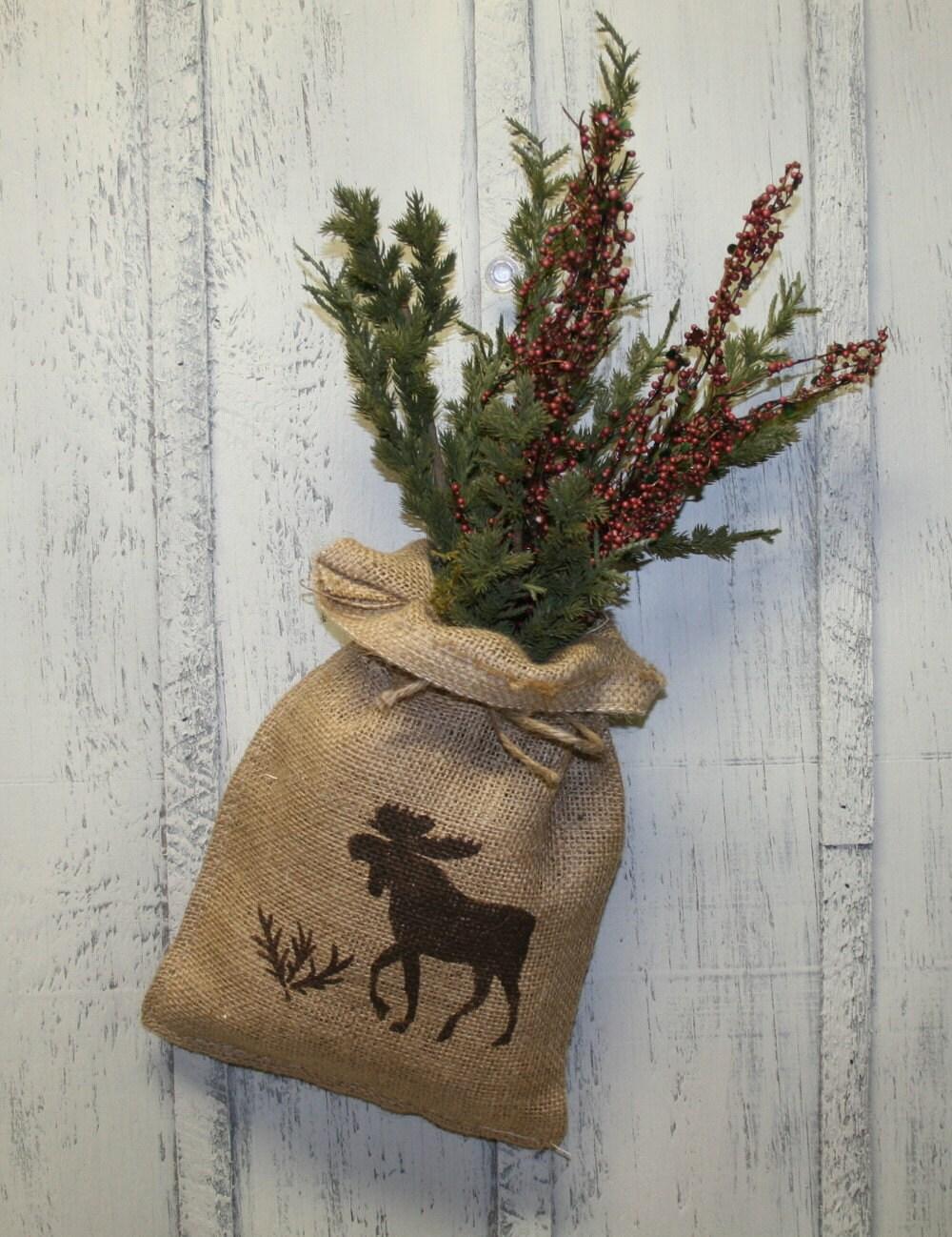 Moose burlap bag burlap flower arrangement wall by naturesglow for Wall decor arrangements