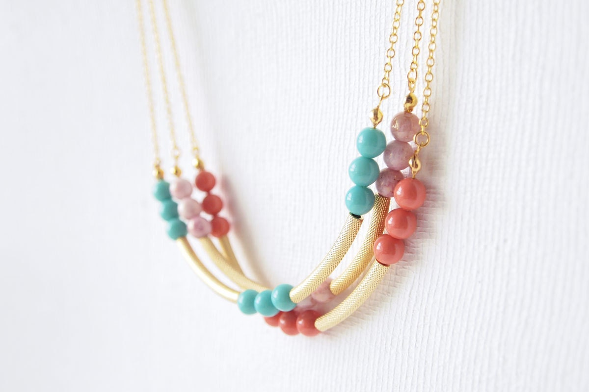 Everyday Necklace : Spring Fashion - Pastel Beaded Curved Necklace - curiouscreaturesshop