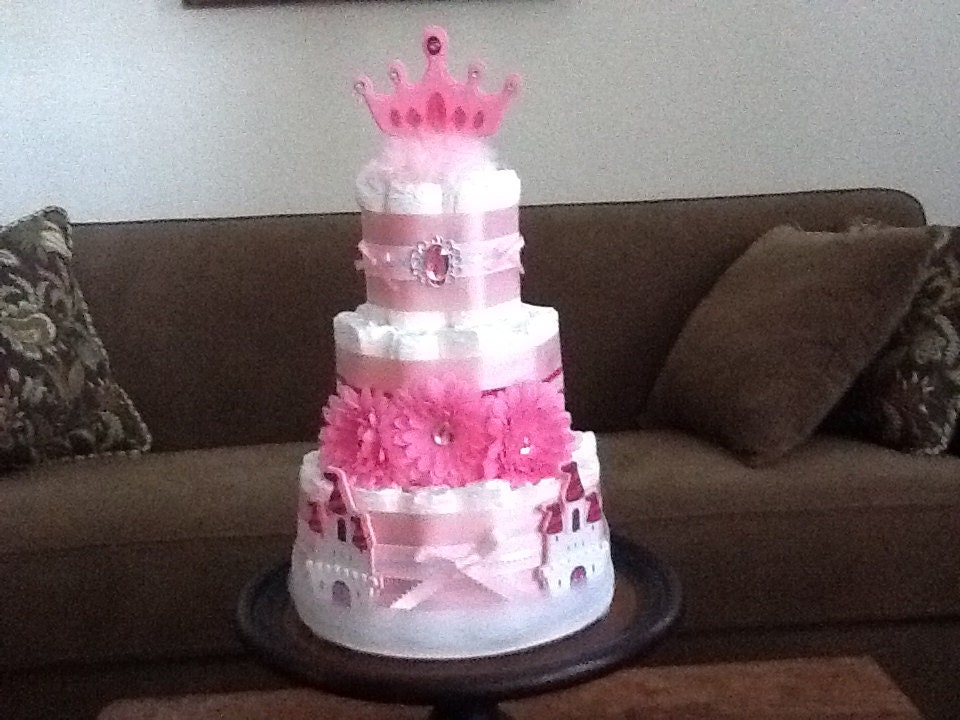 Princess Diaper Cake Baby Shower by bearbottomdiapercakes ...