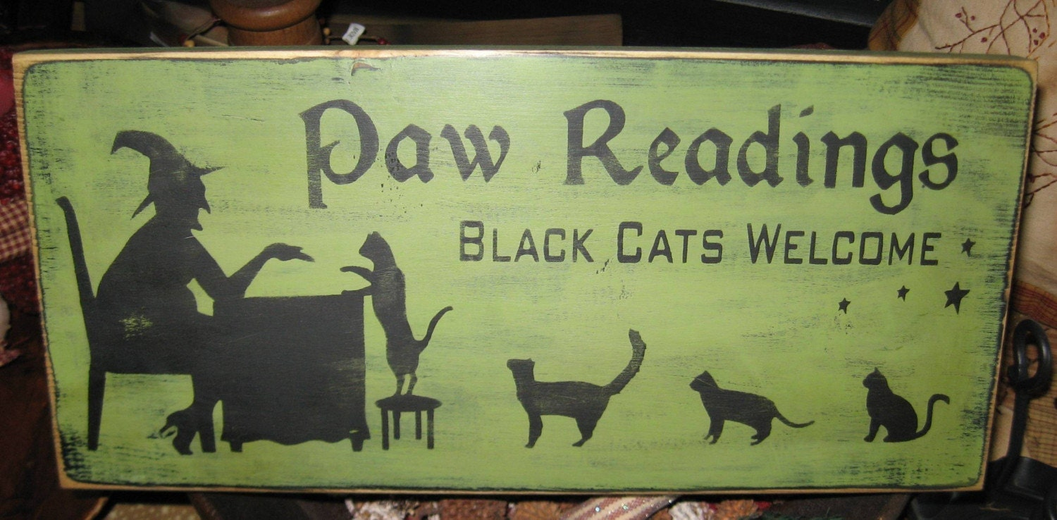 Paw Readings Witch Primitive Wood Sign by thehomespunraven on Etsy