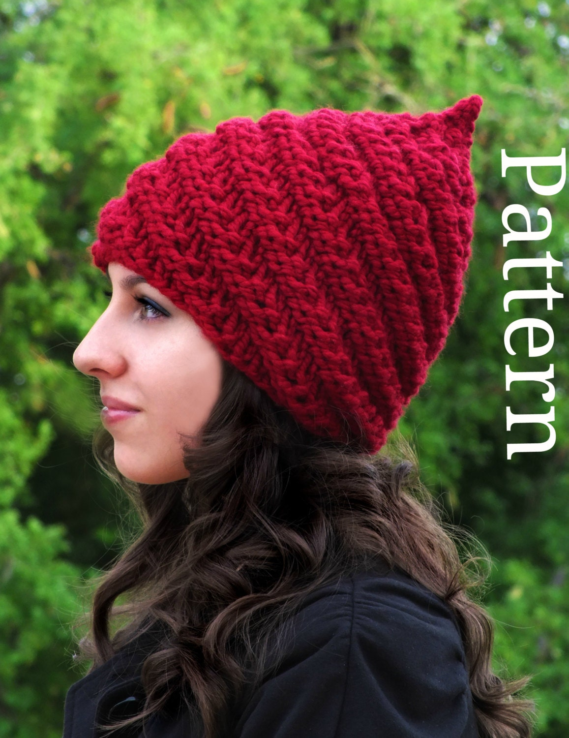 Knitting Pattern For Gnome Hat : Gnome Hat Pattern Adult Knit Hat Knitting pattern by ...