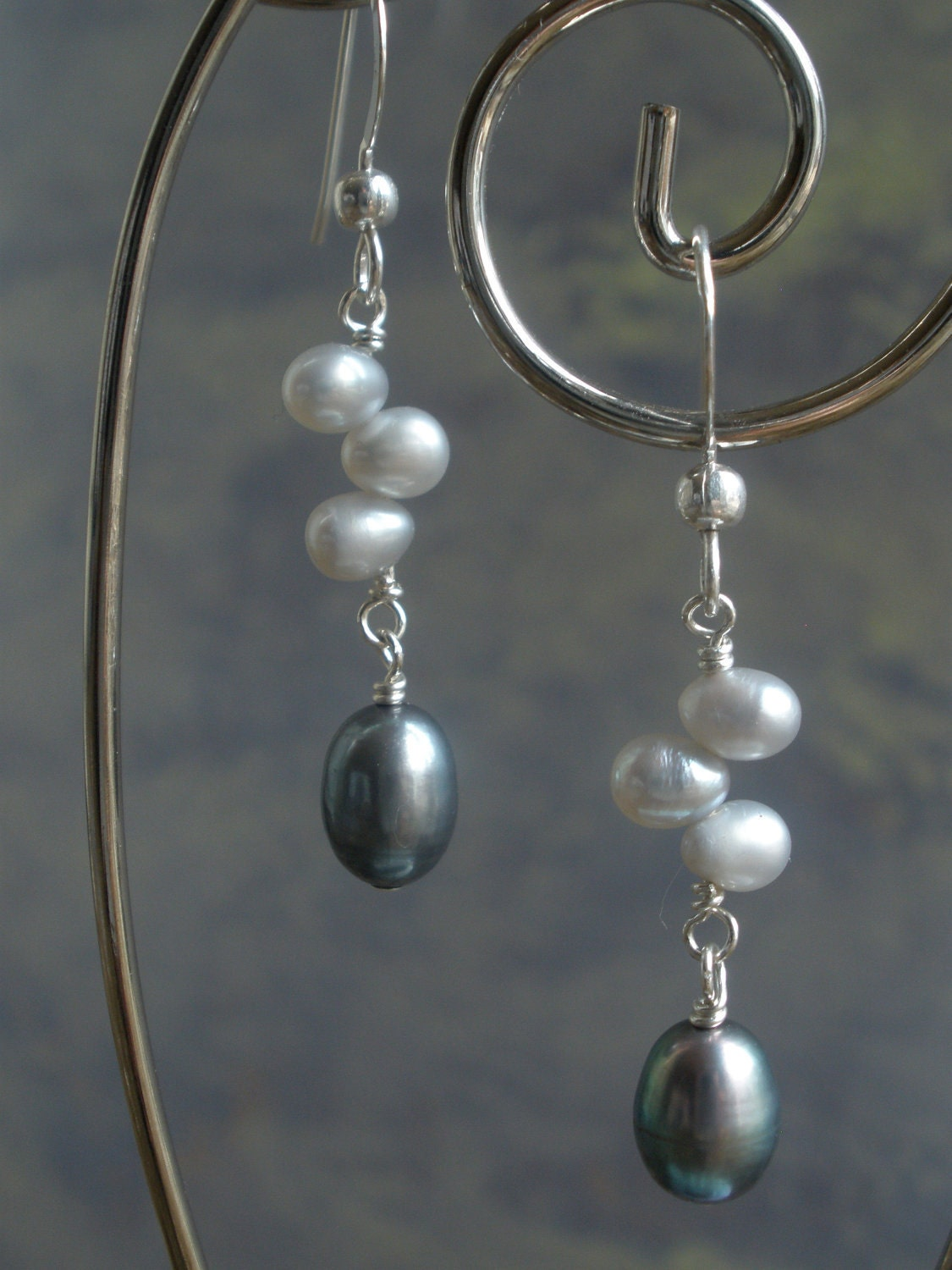 Pale Blue & Warm Gray Freshwater Pearl Earrings on Sterling Silver Earwires - deannaross
