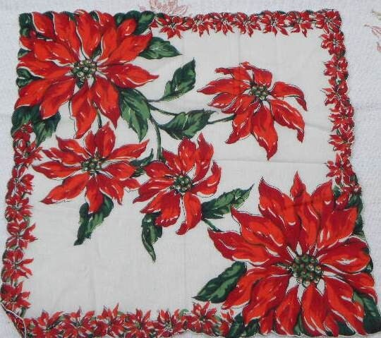 Vintage Poinsettia Christmas Handkerchief FREE SHIPPING - VintageShop