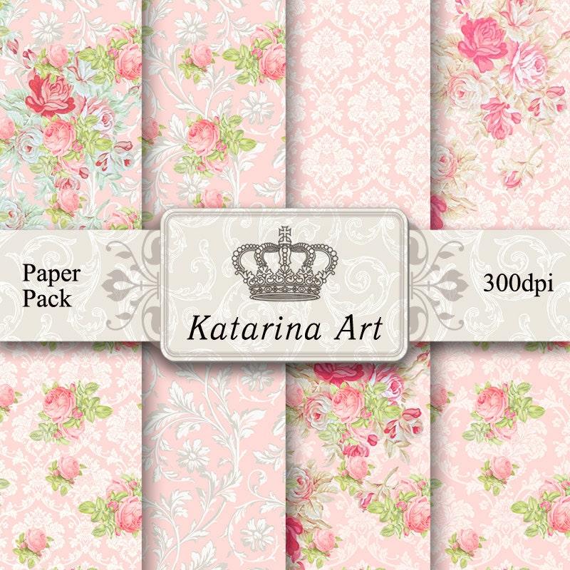 Digital Paper. floral collage background download. Scrapbook Printable ...