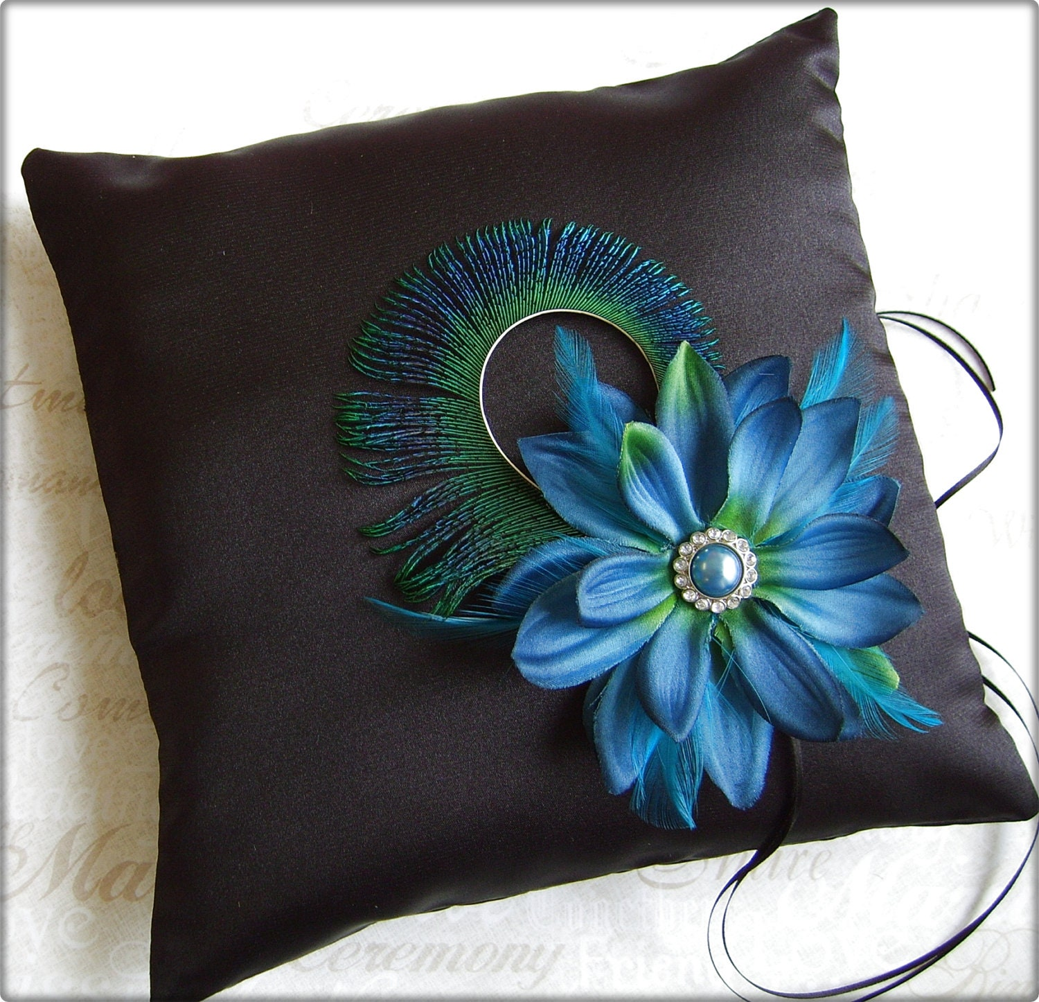 Peacock Wedding Ring Pillows, Black and Teal Ring Bearer Pillow, Peacock Feather Wedding Pillows, - All4Brides