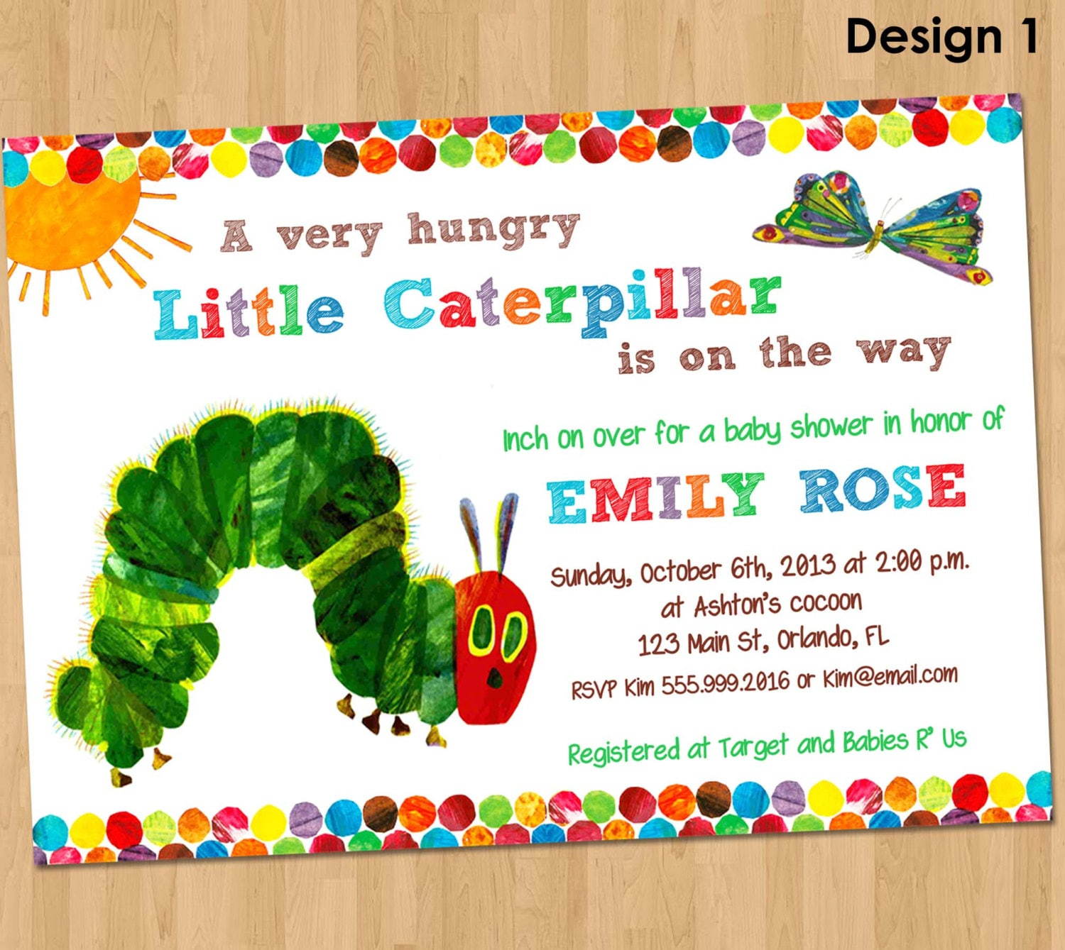 The Very Hungry Caterpillar Invitations is awesome invitation design