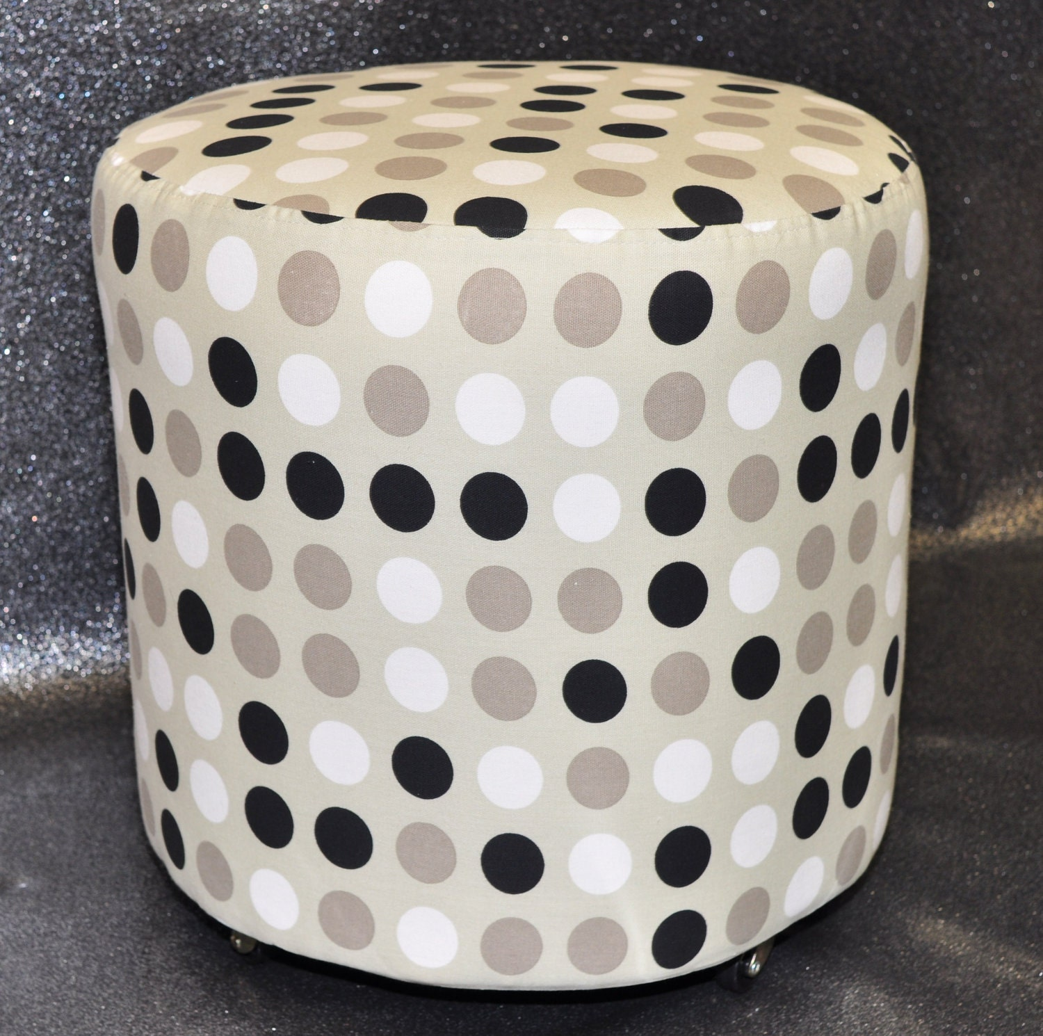 Neutral Polka Dot Ottoman