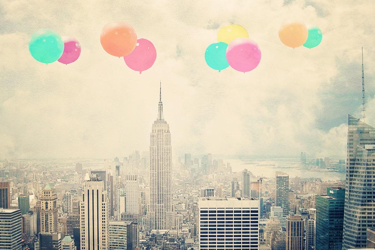 "New York City - 8x10 photograph - ""Balloons over the City"" - fine art print - vintage photography - Manhattan  - New York skyline - maybesparrowsplace"