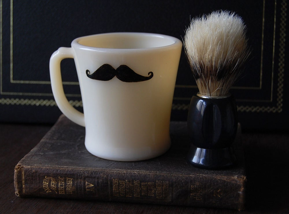 Painted Mustache Shaving Mug and Brush Set
