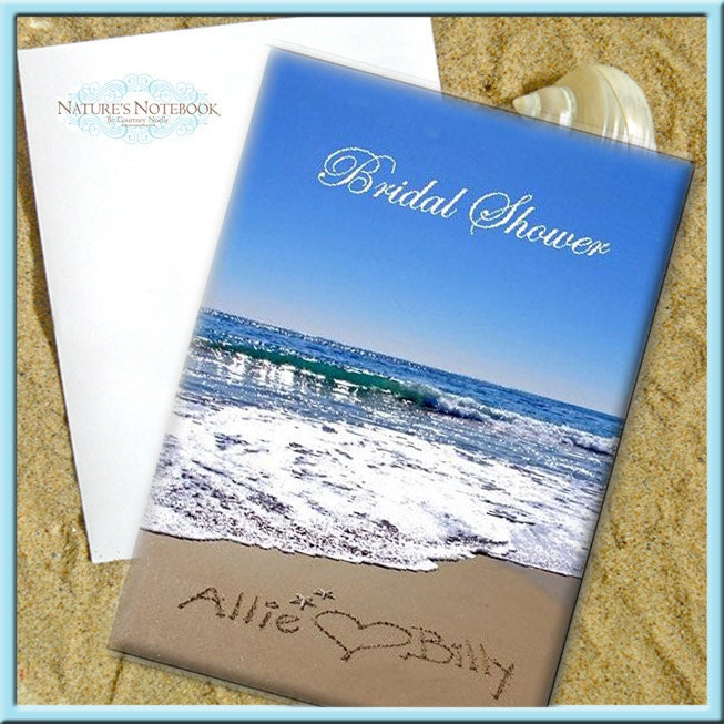Beach Themed Bridal Shower Invitations Folded By Writinginthesand