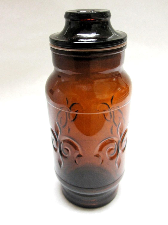 Brown glass canister fleur de lis jar by sweetie2sweetie on etsy - Fleur de lis canisters ...