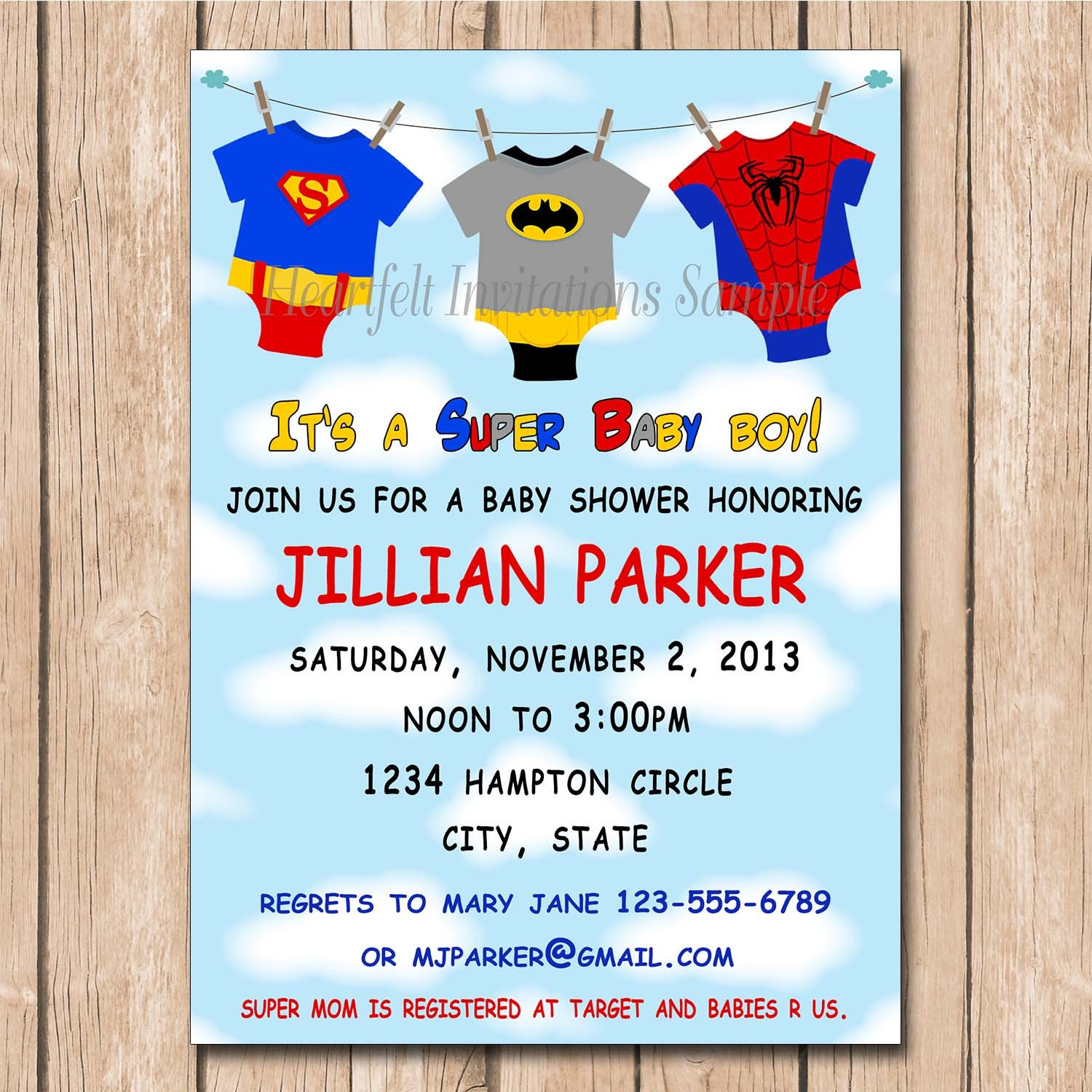 super baby shower invitation batman superman spiderman super hero
