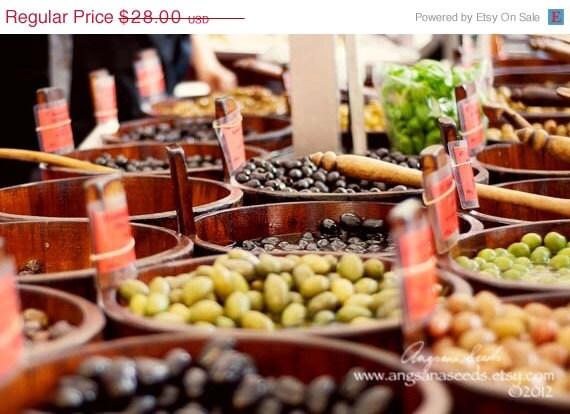 CIJ SALE Food photography, Olives, olive barrels, street market, Kitchen decor, green, 8x12, German, Munich, Viktualienmarkt, gift under 50 - AngsanaSeedsPhoto