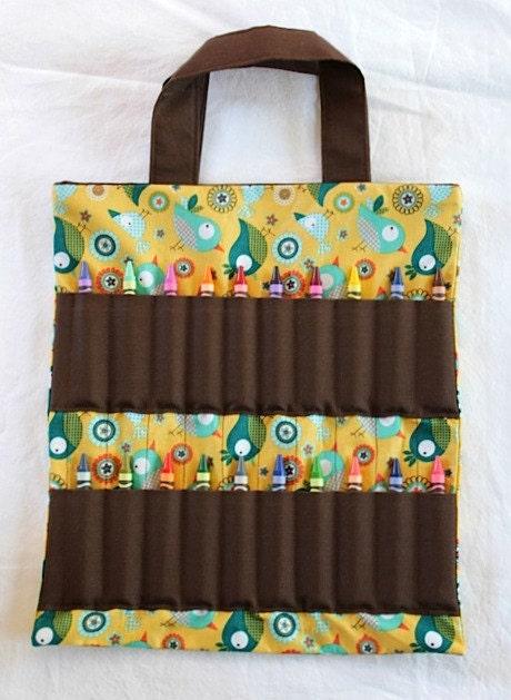 coloring book crayon bag bird pattern coloring book and crayon holder bag tote - Coloring Book And Crayon Holder