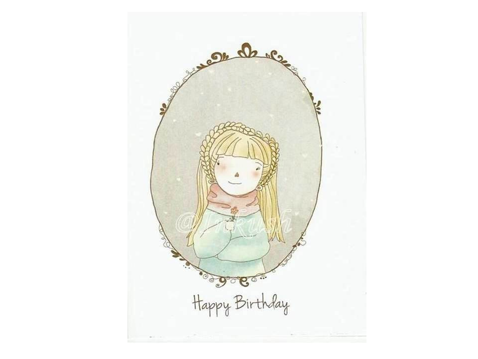 "Birthday Greeting Card - Happy Birthday - Blank Card  4 x 6 "" Art Print of my Illustration with Envelope - efiwarsh"