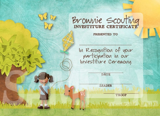 Girl Scouts Brownie Investiture Certificate - Single Scout