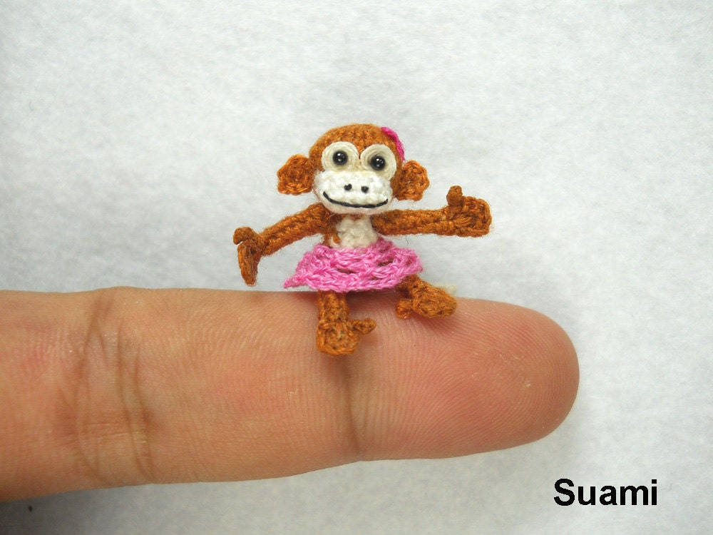 Tiny Miniature Monkey With Skirt -  Mini Micro Dollhouse Crochet 1 Inch Scale Monkey - Made to Order