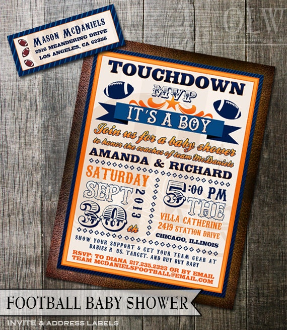 football baby shower invitation and address labels any team colors