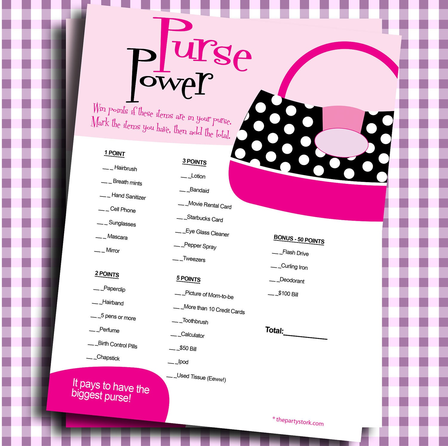 Bridal Shower Games PRINTABLE Purse Power YOU By Thepartystork